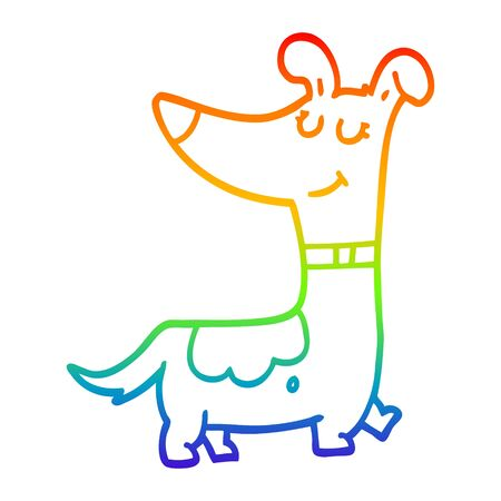 rainbow gradient line drawing of a cartoon dog