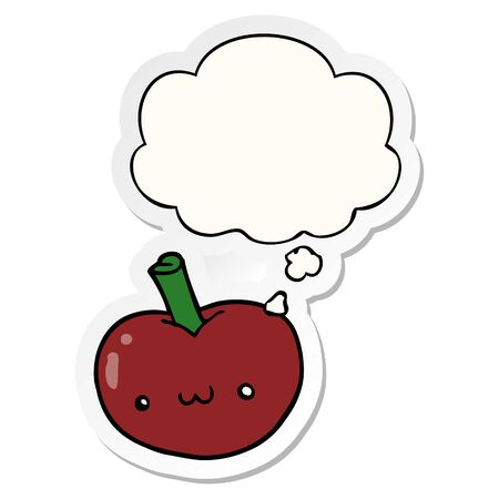 cartoon apple with thought bubble as a printed sticker