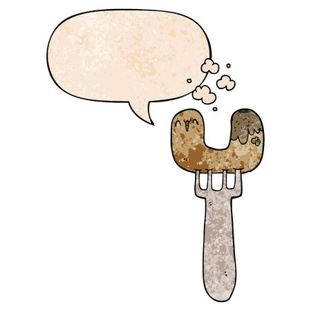 cartoon sausage on fork with speech bubble in retro texture style  イラスト・ベクター素材
