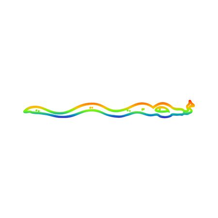 rainbow gradient line drawing of a cartoon poisonous snake