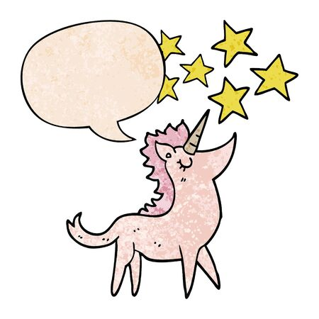 cartoon unicorn with speech bubble in retro texture style