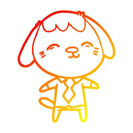 warm gradient line drawing of a happy cartoon office worker dog