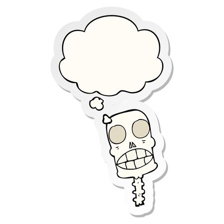 cartoon spooky skull with thought bubble as a printed sticker
