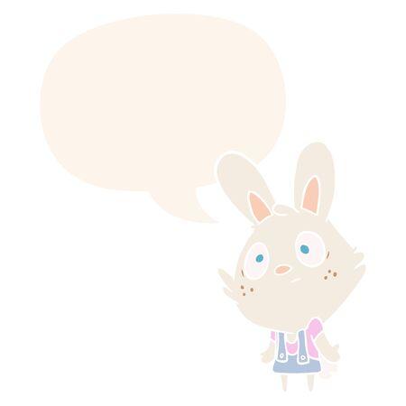 cute cartoon rabbit shrugging shoulders with speech bubble in retro style Ilustração