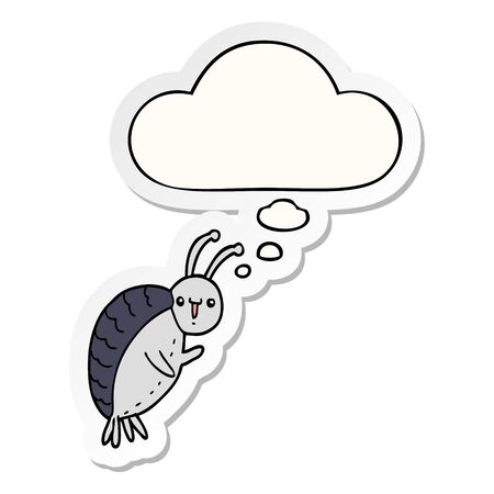 cartoon beetle with thought bubble as a printed sticker