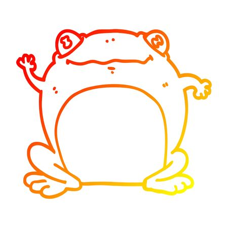 warm gradient line drawing of a cartoon frog Banque d'images - 128772365
