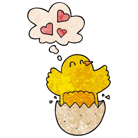 cute hatching chick cartoon with thought bubble in grunge texture style