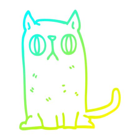 cold gradient line drawing of a cartoon funny cat