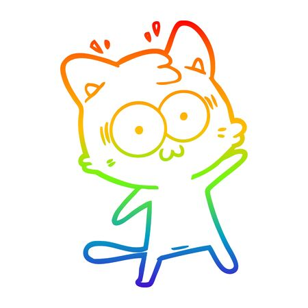 rainbow gradient line drawing of a cartoon surprised cat Stock Illustratie