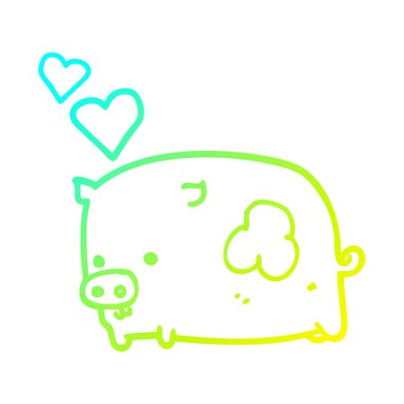 cold gradient line drawing of a cartoon pig in love