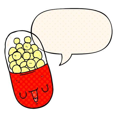 cartoon medical pill with speech bubble in comic book style Ilustração