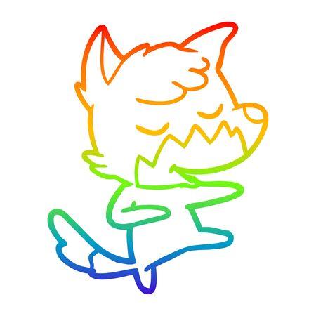 rainbow gradient line drawing of a friendly cartoon fox dancing