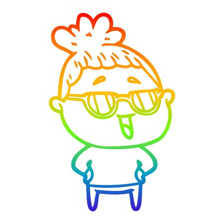 rainbow gradient line drawing of a cartoon happy woman wearing spectacles