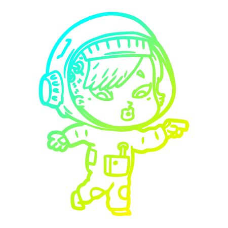 cold gradient line drawing of a cartoon astronaut woman