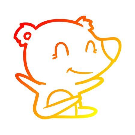 warm gradient line drawing of a smiling bear cartoon Ilustração