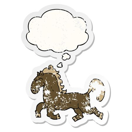 cartoon stallion with thought bubble as a distressed worn sticker Illustration