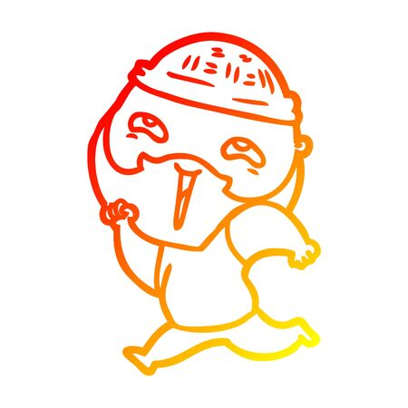 warm gradient line drawing of a cartoon happy bearded man Ilustração