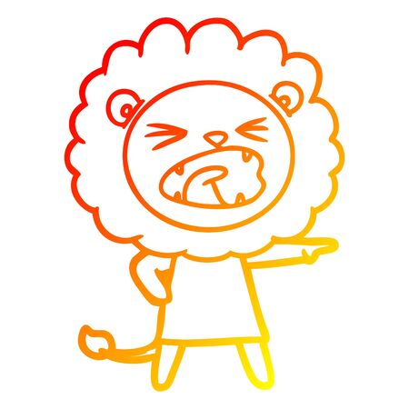 warm gradient line drawing of a cartoon angry lion in dress
