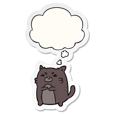 cartoon angry cat with thought bubble as a printed sticker Ilustrace