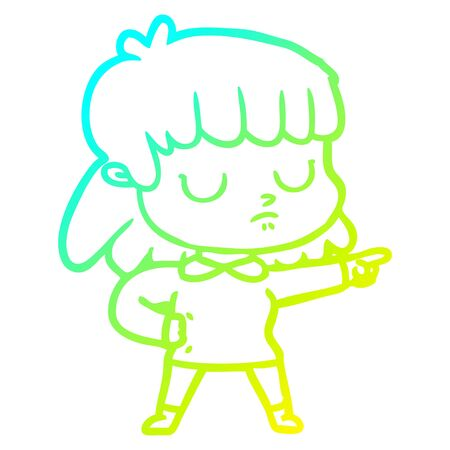 cold gradient line drawing of a cartoon indifferent woman accusing  イラスト・ベクター素材