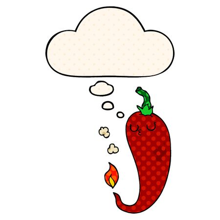 cartoon hot chili pepper with thought bubble in comic book style