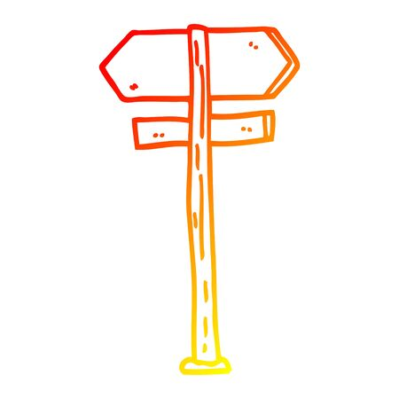 warm gradient line drawing of a cartoon direction sign