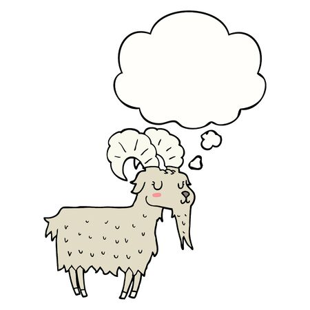 cartoon goat with thought bubble Ilustracja