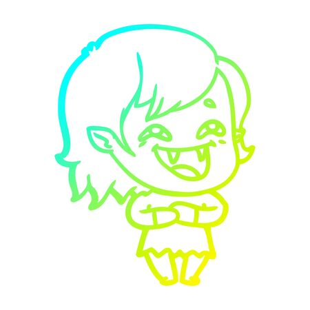 cold gradient line drawing of a cartoon laughing vampire girl