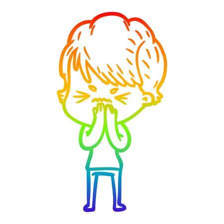 rainbow gradient line drawing of a cartoon frustrated woman Ilustração
