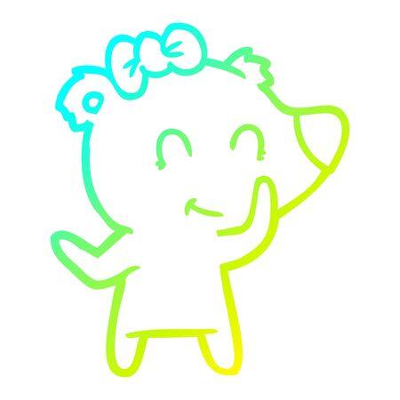cold gradient line drawing of a female polar bear cartoon Ilustração