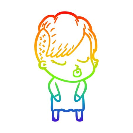 rainbow gradient line drawing of a cartoon pretty hipster girl