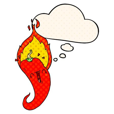 cartoon flaming hot chili pepper with thought bubble in comic book style