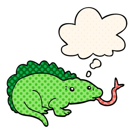 cartoon lizard with thought bubble in comic book style