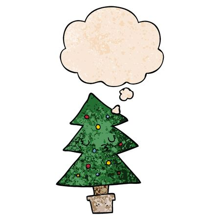 cartoon christmas tree with thought bubble in grunge texture style Stock Illustratie