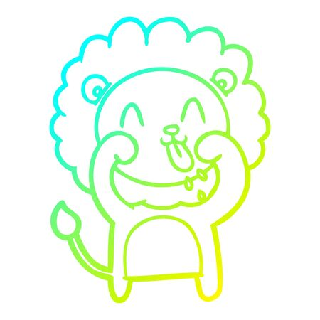 cold gradient line drawing of a happy cartoon lion