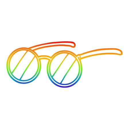 rainbow gradient line drawing of a cartoon spectacles