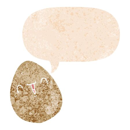 cartoon egg with speech bubble in grunge distressed retro textured style