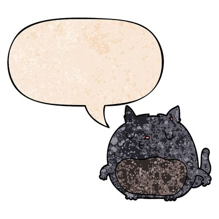 cartoon cat with speech bubble in retro texture style
