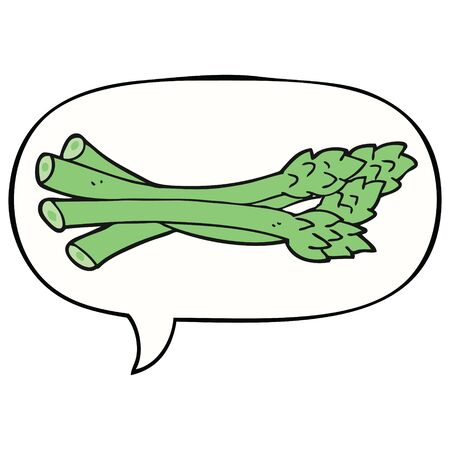 cartoon asparagus with speech bubble 向量圖像
