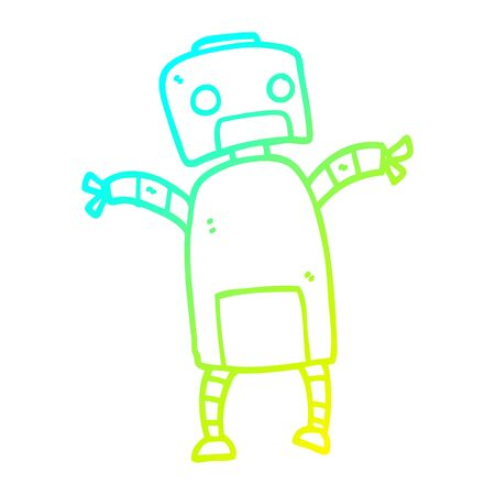 cold gradient line drawing of a cartoon robot dancing Illustration