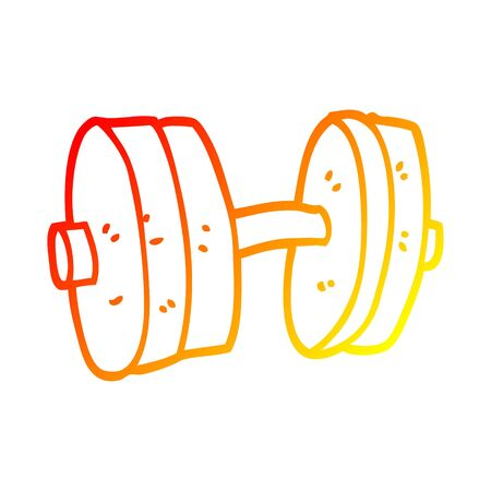 warm gradient line drawing of a cartoon weights Illustration