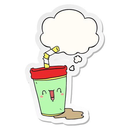 cute cartoon soda with thought bubble as a printed sticker Ilustração