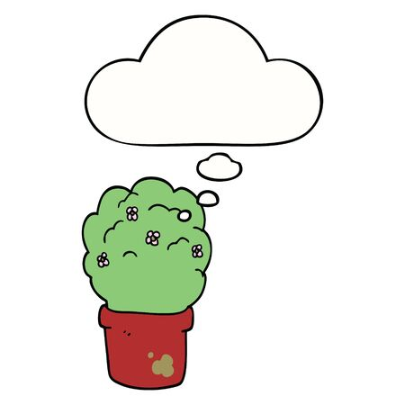 cartoon shrub with thought bubble