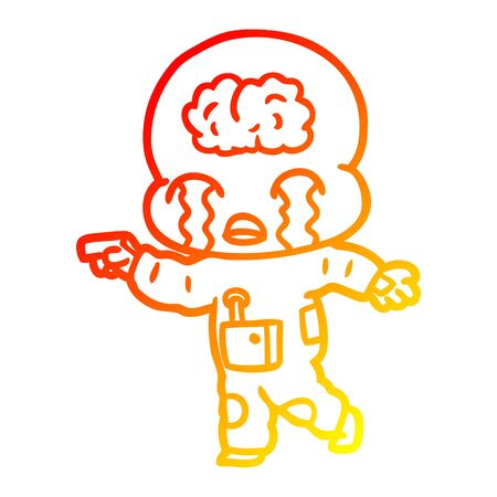 warm gradient line drawing of a cartoon big brain alien crying