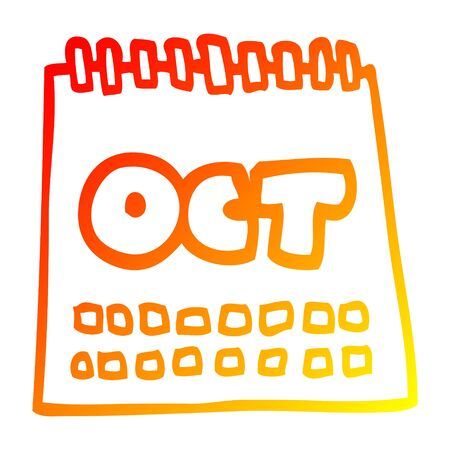 warm gradient line drawing of a cartoon calendar showing month of october