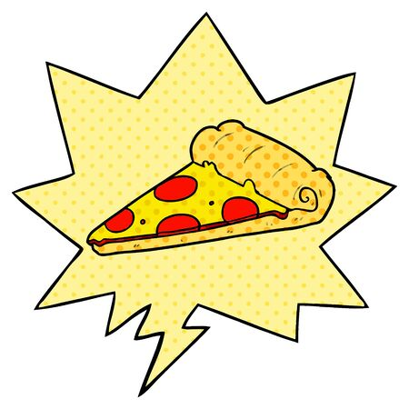 cartoon slice of pizza with speech bubble in comic book style
