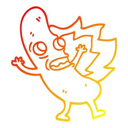 warm gradient line drawing of a cartoon flaming hotdog Stock fotó - 128791298