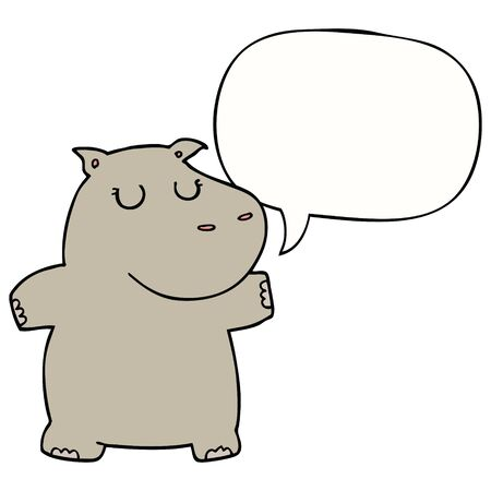 cartoon hippo with speech bubble
