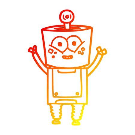 warm gradient line drawing of a happy cartoon robot waving hello Stock Vector - 128791306