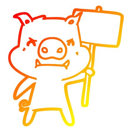 warm gradient line drawing of a angry cartoon pig protesting Illustration
